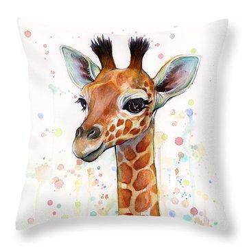 Baby Giraffe Watercolor  Throw Pillow by Olga Shvartsur
