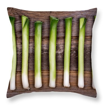 Baby Leeks Vintage Throw Pillow by Jane Rix