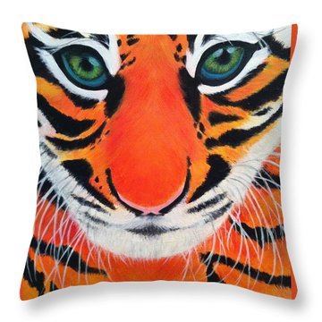 Baby Tiger Throw Pillow by Lisa Bentley