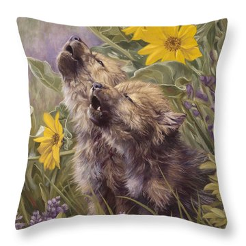 Baby Wolves Howling Throw Pillow by Lucie Bilodeau