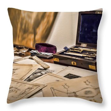 Back To The Drawing Board Throw Pillow by Heather Applegate
