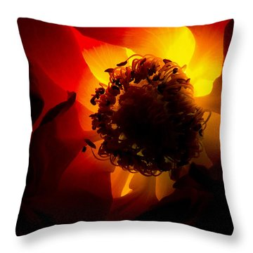 Backlit Flower Throw Pillow by Fabrizio Troiani