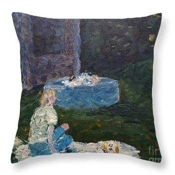 Backyard Fun Throw Pillow by Wayne Cantrell