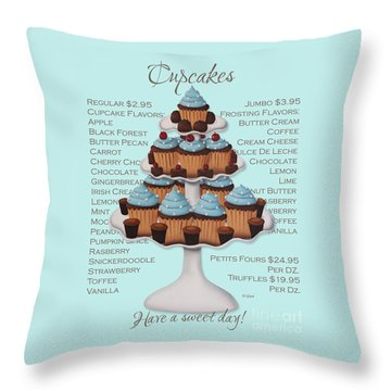 Baked Fresh Daily Aqua Background Throw Pillow by Catherine Holman