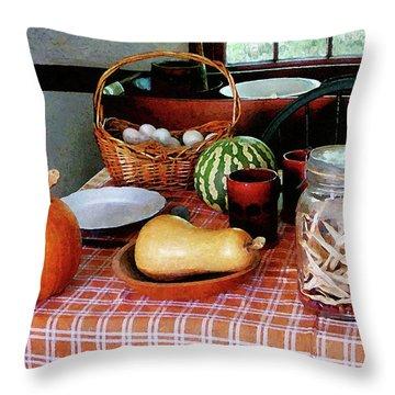 Baking A Squash And Pumpkin Pie Throw Pillow by Susan Savad