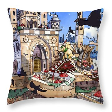 Balcony Of Princess Jasmine Throw Pillow by Reynold Jay