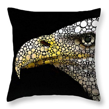 Bald Eagle Art - Eagle Eye - Stone Rock'd Art Throw Pillow by Sharon Cummings
