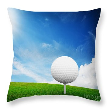 Ball On Tee On Green Golf Field Throw Pillow by Michal Bednarek