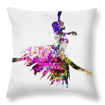 Ballerina On Stage Watercolor 4 Throw Pillow by Naxart Studio