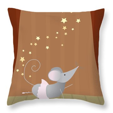 Ballet Mouse Nursery Art Girl Throw Pillow by Christy Beckwith