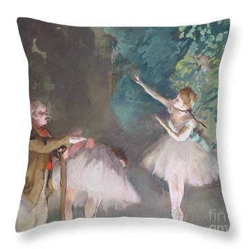 Ballet Rehearsal Throw Pillow by Edgar Degas