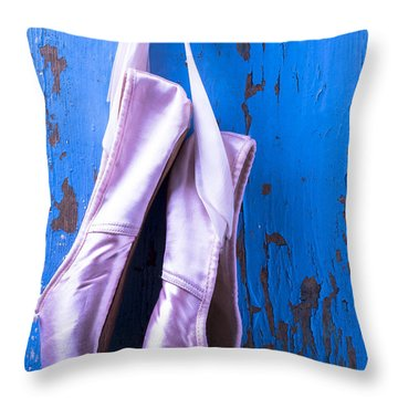 Ballet Shoes On Blue Wall Throw Pillow by Garry Gay
