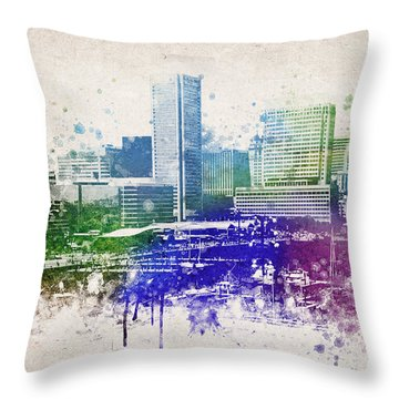 Baltimore City Skyline Throw Pillow by Aged Pixel