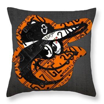 Baltimore Orioles Vintage Baseball Logo License Plate Art Throw Pillow by Design Turnpike