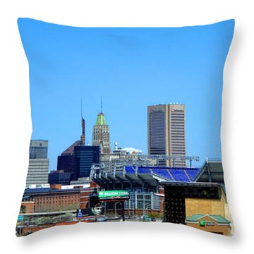 Baltimore Stadiums Throw Pillow by Olivier Le Queinec
