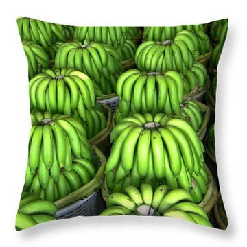 Banana Bunch Gathering Throw Pillow by Douglas Barnett