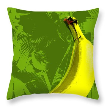 Banana Pop Art Throw Pillow by Jean luc Comperat
