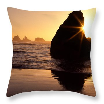 Bandon Golden Moment Throw Pillow by Inge Johnsson