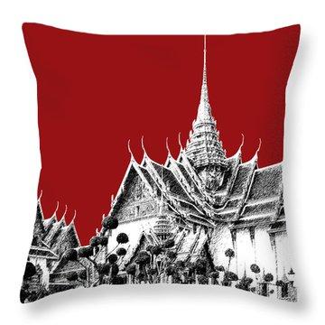 Bangkok Thailand Skyline Grand Palace - Dark Red Throw Pillow by DB Artist