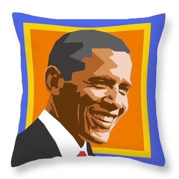 Barack Throw Pillow by Douglas Simonson