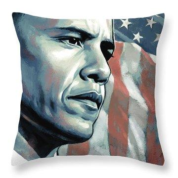 Barack Obama Artwork 2 B Throw Pillow by Sheraz A