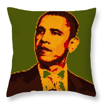 Barack Obama Lego Digital Painting Throw Pillow by Georgeta Blanaru