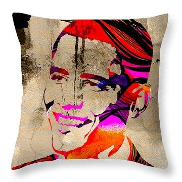 Barack Obama Throw Pillow by Marvin Blaine
