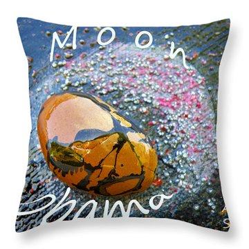 Barack Obama Moon Throw Pillow by Augusta Stylianou