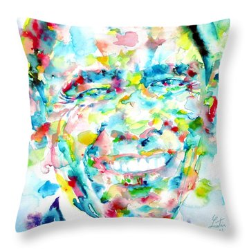 Barack Obama - Watercolor Portrait Throw Pillow by Fabrizio Cassetta