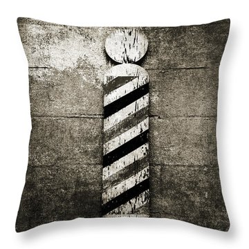 Barber Pole Black And White Throw Pillow by Andee Design
