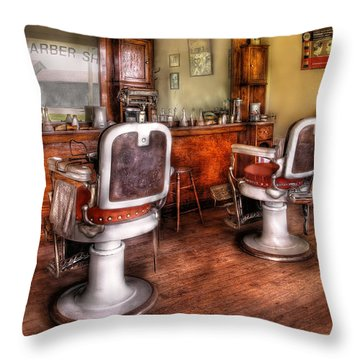 Barber - The Barber Shop II Throw Pillow by Mike Savad
