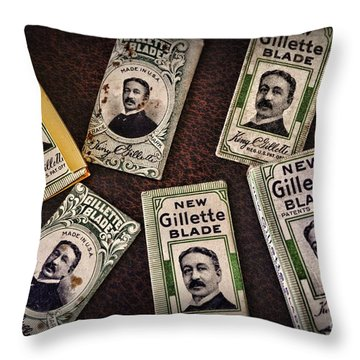 Barber - Vintage Gillette Razor Blades Throw Pillow by Paul Ward