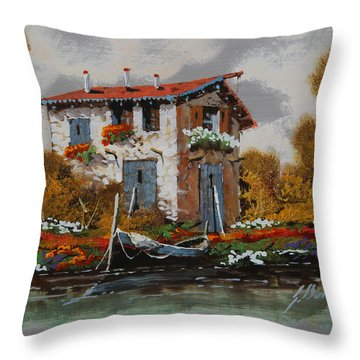 Barca Al Molo Throw Pillow by Guido Borelli