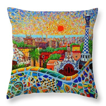 Barcelona View At Sunrise - Park Guell  Of Gaudi Throw Pillow by Ana Maria Edulescu