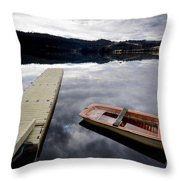 Bark On A Lake In Auvergne. France Throw Pillow by Bernard Jaubert