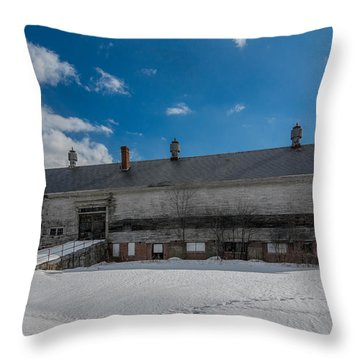 Barn At Amhi   7k00315 Throw Pillow by Guy Whiteley