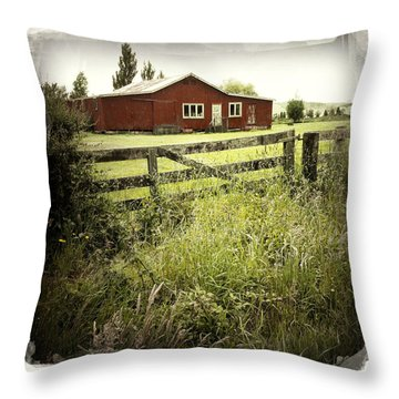 Barn In Field Throw Pillow by Les Cunliffe