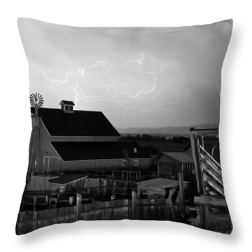 Barn On The Farm And Lightning Thunderstorm Bw Throw Pillow by James BO  Insogna