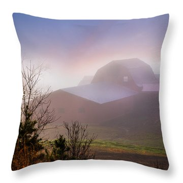 Barns In The Morning Light Throw Pillow by Debra and Dave Vanderlaan