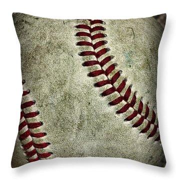 Baseball - A Retired Ball Throw Pillow by Paul Ward