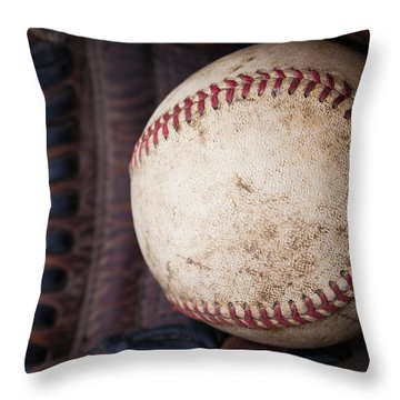 Baseball And Glove Throw Pillow by David Patterson