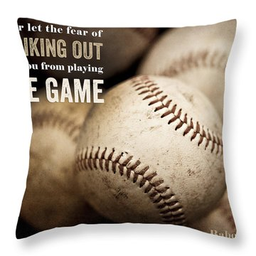 Baseball Art Featuring Babe Ruth Quotation Throw Pillow by Lisa Russo