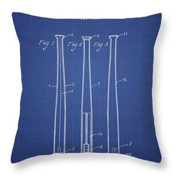 Baseball Bat Patent From 1924 - Blueprint Throw Pillow by Aged Pixel