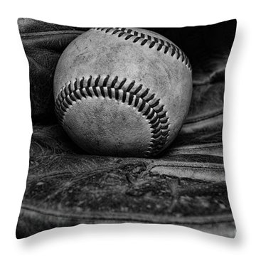 Baseball Broken In Black And White Throw Pillow by Paul Ward