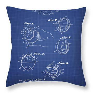 Baseball Cover Patent From 1963- Blueprint Throw Pillow by Aged Pixel