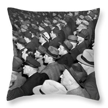Baseball Fans At Yankee Stadium For The Third Game Of The World Throw Pillow by Underwood Archives