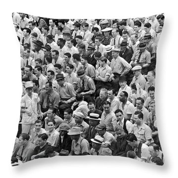 Baseball Fans In The Bleachers At Yankee Stadium. Throw Pillow by Underwood Archives