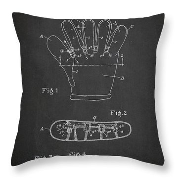Baseball Glove Patent Drawing From 1922 Throw Pillow by Aged Pixel