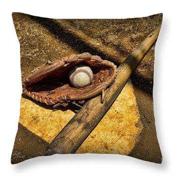 Baseball Home Plate Throw Pillow by Paul Ward