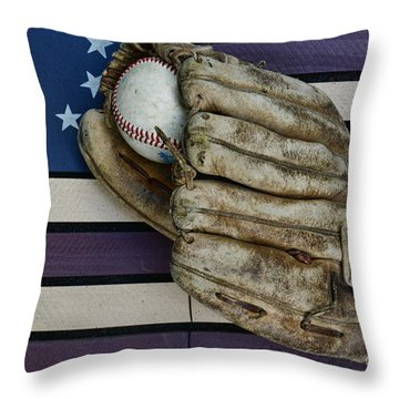Baseball Mitt On American Flag Folk Art Throw Pillow by Paul Ward